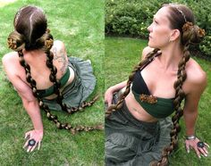 2 x C U S T O M Fantasy REENACTMENT hair fall PIGTAILS fairy faery PLAITS braids 90 cm/ 36'' long Tribal Fusion Belly Dance accessory. €95.00, via Etsy.