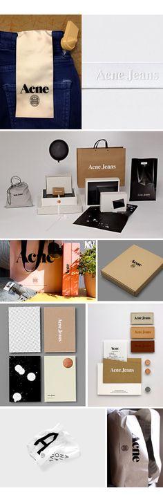 Mirá la marca Acne realizó la identidad y packaging. Recordá que todos los elementos deben conformar un sistema que se identifique como una unidad.