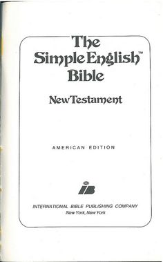 Simple English Bible NT Title, Bible In My Language