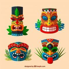 Ethnic set of fun tiki masks Free Vector Aloha Party, Tiki Party, Luau Party, African Masks, African Art, Totem Tiki, Tiki Man, Hawaiian Tiki, Tiki Hawaii
