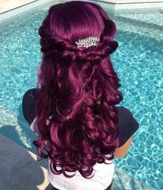 52 Ideas Nails Purple Long For 2019 Reddish Purple Hair, Hair Color Purple, Hair Colors, Pretty Hair Color, Beautiful Hair Color, Pelo Color Borgoña, Synthetic Lace Front Wigs, Love Hair, Fall Hair