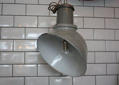 "Vintage Antique ""Thorlux"" Industrial Parabolic Angled Grey Enamel Factory Light…"