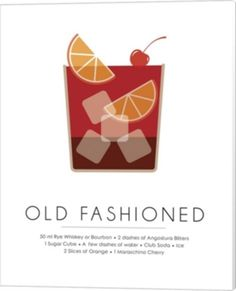 """Old Fashioned cocktail illustration with the ingredients at the bottom - """"Old Fashioned"""" wall art by Studio Grafiikka from Great BIG Canvas Cocktail Illustration, Funny Illustration, Food Illustrations, Canvas Artwork, Canvas Prints, Big Canvas, Framed Prints, Adobe Illustrator Tutorials, Old Fashioned Cocktail"""