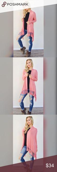 The Perfect Fringe Cardigan in Dusty Rose (LAST 1) Every girl needs one asap. This will be your go to cardigan for sure! 💕 Extra soft, light weight material, long sleeve, runs true to size,Rayon/Spandex. For reference: Model is wearing a Small. 5'9 34chest /26waist /34hips ✨Also available in Black & Olive. •PRICE IS FIRM• Bohemian Sea Sweaters Cardigans