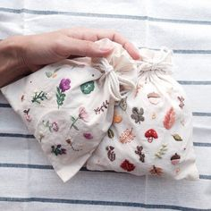 Patch embroidered drawstring bag. OMG so cute and great practice for embroidering.
