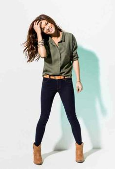 Olive shirt, black pants, and booties -simple. Mode Outfits, Fall Outfits, Casual Outfits, Fashion Outfits, Womens Fashion, Outfit Winter, Petite Fashion, Modest Fashion, Fasion
