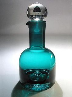 "NANNY STILL - Glass carafe ""Rex"" designed 1965 for Riihimäen Lasi Oy, in production Finland. Glass Design, Design Art, Lassi, Glass Ceramic, Carafe, Be Still, Finland, Modern Contemporary, Glass Art"