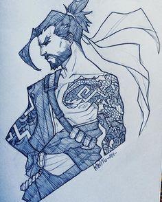 :3c #hanzo #overwatch #art #sketch #hanzoshimada