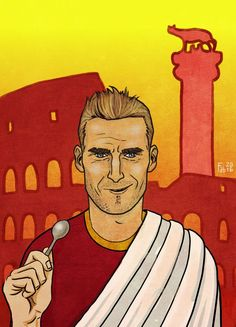 Roma Art: Totti, Rudiger, Spalletti, Strootman and Ago
