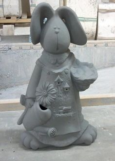 CLAY MAGIC 3226 NELLY RABBIT W/SCENE CERAMIC BISQUE READY TO PAINT #ClayMagic