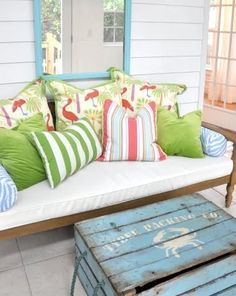 Wooden Crate Coffee Tables for Coastal Living: http://www.completely-coastal.com/2012/05/crate-chic-using-old-wooden-crates-as.html
