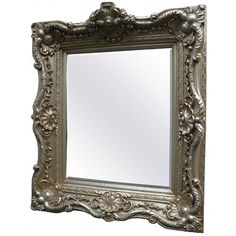 Traditional Decorative Framed Mirror in Champagne Pewter 31 x 35