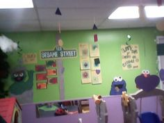 Sesame Street just use one wall as your theme wall and change it often I normally do a new theme every 2-3 weeks depending on how many art projects I can come up with to go with it.  Toddler, preschool daycare classroom.