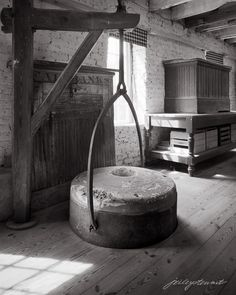"""""""Millstone on Crane, Waterford Mill"""" This is a Limited Edition Original fine art photograph from a 4x5 B&W negative."""
