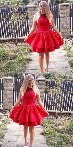 A-Line Sleeveless Tiered Red Short Homecoming Dress with Strapless Homecoming Dresses, Hoco Dresses, Prom Gowns, Pretty Dresses, Wedding Gowns, Bridesmaid Dresses, Dresser, Red Party, Short Prom