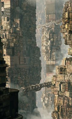 """going to cyberpunk mecca - Hong Kong The Concentration City Concept inspired by J. Ballard's short story """"The Concentration City"""" by Maciej The Concentration City Concept inspired by J. Ballard's short story """"The Concentration City"""" by Maciej Drabik Cyberpunk City, Arte Cyberpunk, Futuristic City, Fantasy City, Fantasy Places, Sci Fi Fantasy, Concept Art Landscape, Fantasy Landscape, Landscape Design"""