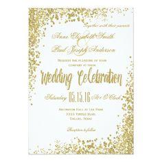 Shabby Chic Wedding Invitations Gold Confetti & Glitter wedding invitation II