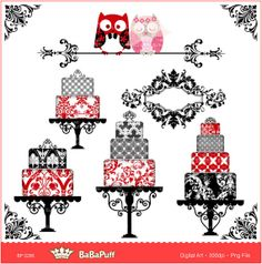 Damask Wedding Clip Art | Digital Wedding Cake, Owls, Damask Frame, Corner - Clip art for ...