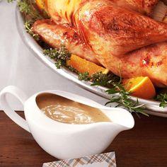 Grandma's Turkey Gravy Recipe -Here's a stress-free recipe that'll impress Grandma herself! Seasonings and a shallot add wonderful flavor` to this velvety gravy, which tastes just as good the next day. —Jesse Klausmeier, Burbank, California