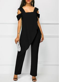 Wide Strap Black Open Back Overlay Jumpsuit Outfits, fashion design, new sigh up 15% off, don't wait, pick it up at rosewe.com.