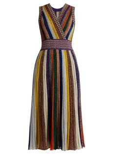 V-neck striped pleated knit dress | Missoni | MATCHESFASHION.COM UK