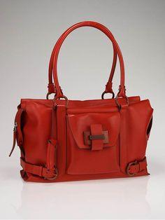 tangerine leather medium satchel handbag by Salvatore Ferragamo