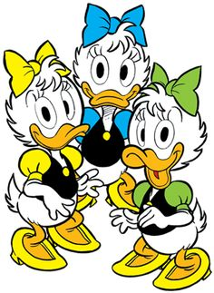 April, May & June Duck. They are the nieces of Daisy Duck and cousins of Huey, Dewey & Louie. I believe that they would make great additions as minor supporting characters. In the comics they often drive their cousins crazy and they are part of a girl scout troop called The Little Chickadees, rivals of the Junior Woodchucks. In addition to these roles they could also be potential friends for Webby.