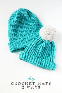 Make these easy Diy Crochet Hats - 2 different ways using the single crochet stitch