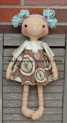 Primitive Little Raggedy Annie Doll W Teddy Bear Ann