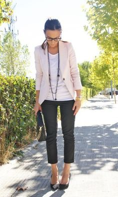 Light blazer & white top & long necklaces & black ankle pants & pumps // have all of these pieces