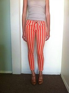 Current Elliot Low Rise Striped Skinny Jeans 25 | eBay