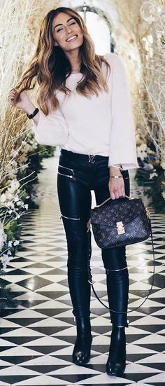 #winter #outfits Leather Leggings // Black Boories // Cream Oversized Knit