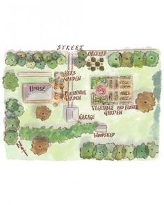 Garden layout with herb and vegetable garden