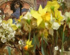 Mucha & Narcissus by Daniel Keys Oil ~ 11 x 14 Daniel Keys, Daniel J, Painting Still Life, Still Life Art, Flower Artists, Found Art, Assemblage Art, Daffodils, Tulips