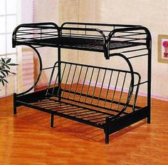 Metal Twin over Full C-Shape Convertible Futon Bunk Bed