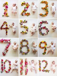 Creative and Easy Monthly Baby Picture Ideas: Child at Heart Blog  Flower numbers for baby monthly pictures!
