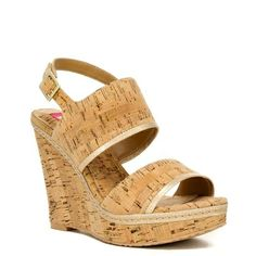 39a9da19a131 Elaine Turner Camila Wedge in Cork and Champagne Gold Leather  ss14 Leather  Wedges