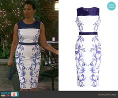 Valerie's white and blue floral print sheath dress on Days of our Lives. Outfit Details: https://wornontv.net/77535/ #DaysofourLives