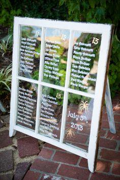 Window pane seating chart idea. ---> http://www.weddingchicks.com/2014/06/04/sonoma-summer-wedding-by-catherine-hall-studios/