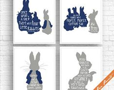 Items similar to The Tale of Peter Rabbit Quotes - Set of 4 Art Print (Unframed) (Featured in Grey and Navy) Peter Pan Prints on Etsy Animal Costumes, Peter Rabbit, Illustration Artists, Book Collection, Accent Colors, 1st Birthday Parties, Peter Pan, Lettering, Art Prints