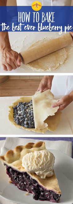 Blueberry pie is always better with a scoop of vanilla ice cream. This blueberry pie recipe is a perfectly simple dessert. Blueberry pie is always better with a scoop of vanilla ice cream. This blueberry pie recipe is a perfectly simple dessert. Easy Desserts, Delicious Desserts, Yummy Food, Italian Desserts, Pie Dessert, Dessert Recipes, Blueberry Pie Recipes, Blueberry Desserts, Blueberry Cake