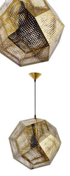 Artfully constructed from carbon steel, the Honeycomb Pendant is a study in mid-century–modern design. Its geometric, multidimensional form beautifully complements its golden hue; it's sure to illumina...  Find the Honeycomb Pendant in Gold, as seen in the The Glamorous Mid-Century Life Collection at http://dotandbo.com/collections/the-glamorous-mid-century-life?utm_source=pinterest&utm_medium=organic&db_sku=DBI9051