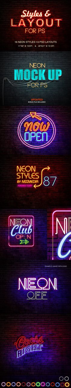 Buy Neon Sign Styles by on GraphicRiver. These Neon signs are very fun and easy to customize. Simple edit with your own text, or if you wish to create your ow. Photoshop Fonts, Best Photoshop Actions, Photoshop Design, Photoshop Tutorial, Free Photoshop, Text Design, Logo Design, Graphic Design, Text Style