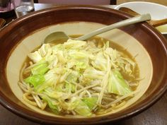 TOUYOKO. It is a shop of the winding system miso ramen. Miso ramen is very thick noodles in a thick miso soup. Adjust the depth to put the split soup thick soup.  Soy sauce ramen is easily thin noodles in soup.