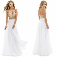 Noble beaded sweetheart chiffon rose gold gleaming white evening dress PROM dress free shipping-in Homecoming Dresses from Apparel & Access...