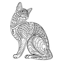 Patron para tinta dibujados a mano. Colorear libro para colorear para el gato adulto — Stock Illustration #102296388