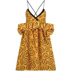 Victoria Victoria Beckham Marigold Wool Matelasse Ruffle Dress ($1,125) ❤ liked on Polyvore featuring dresses, yellow, yellow party dress, yellow dress, doll dress, v neck dress and ruffle dress