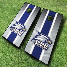 No one can call your loyalty into question with these sporty blue and white racing striped Georgia Southern Eagles cornhole...