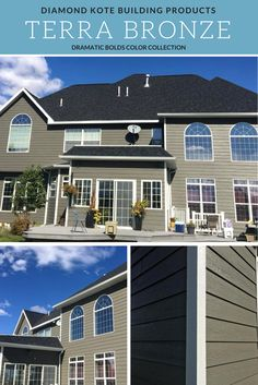 This home features Diamond Kote Oyster Shell siding. The ...