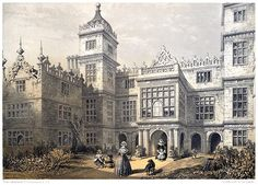 Charlton House, Wiltshire.     C. J. Richardson, from The baronial halls, and ancient picturesque edifices of England vol. 1, by Samuel Carter Hall, London, 1858. Charlton House, Scrapbook Blog, English Manor, Park Homes, Old Books, British Isles, Barcelona Cathedral, Charles James, Book Illustrations